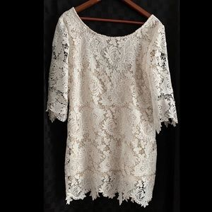 White lace quarter sleeve dress